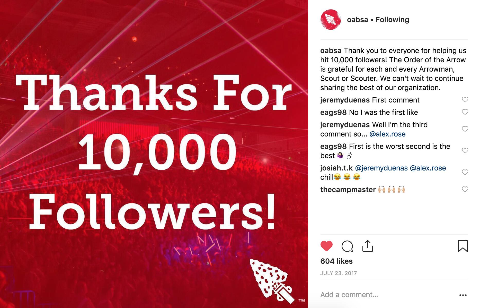 10,000 followers on Instagram