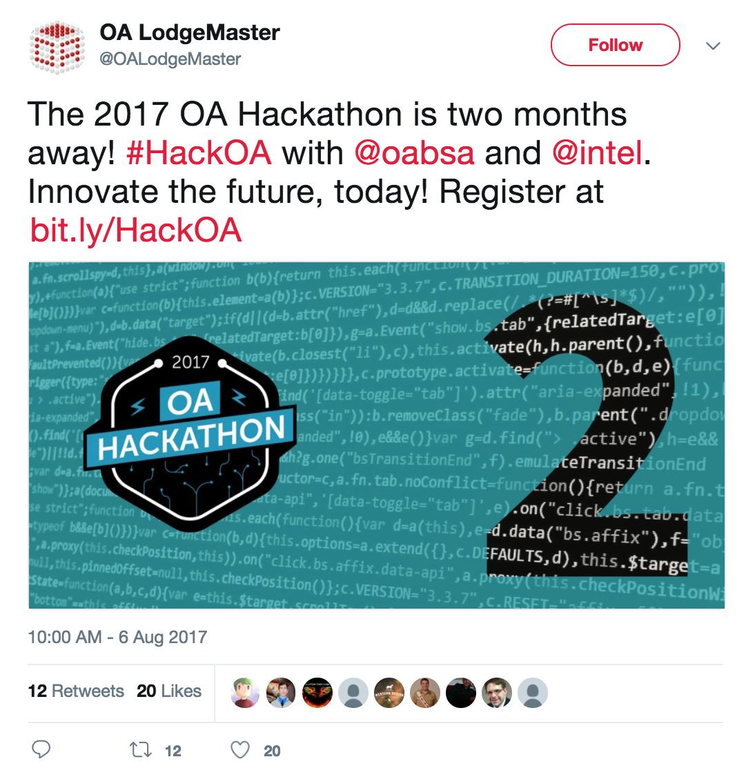 HackOA Promo OALM Twitter